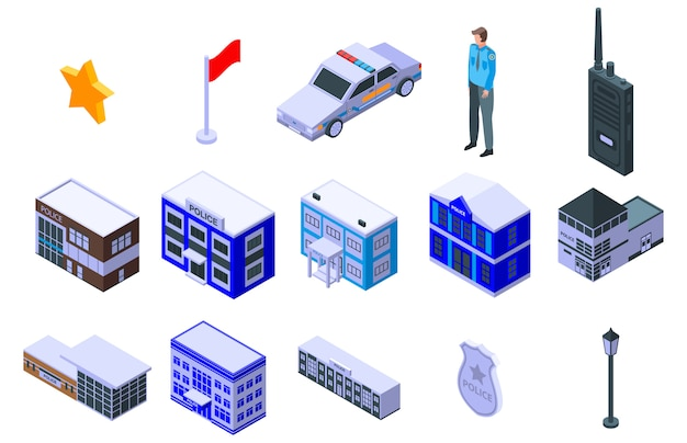 Politiebureau iconen set, isometrische stijl