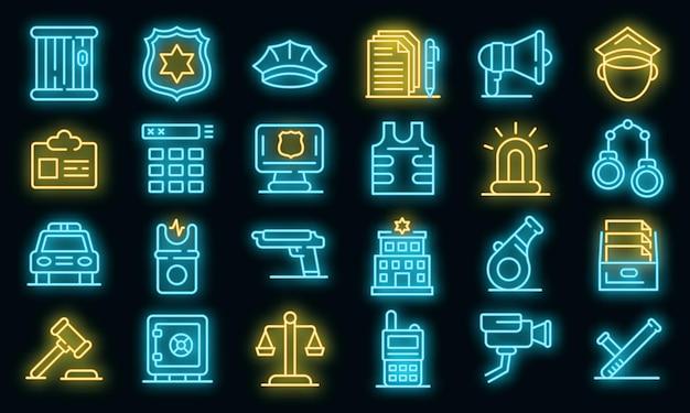 Politiebureau pictogrammen instellen. overzicht set van politiebureau vector iconen neon kleur op zwart
