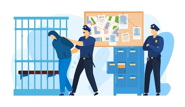 Politiebureau plaats, detentie crimineel door politieagent werk militie, misdadiger man gevangen gezet geïsoleerd op wit, cartoon illustratie.