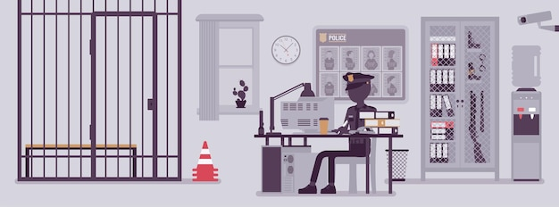 Politiebureaubureau en een politieagent die aan het werk is. mannelijke officier zit op de werkplek in de stadsafdeling, kamerinterieur met professionele hulpmiddelen, gezochte poster. vectorillustratie met anonieme karakters