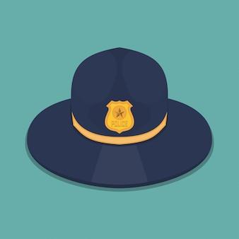 Politiehoed in een plat ontwerp