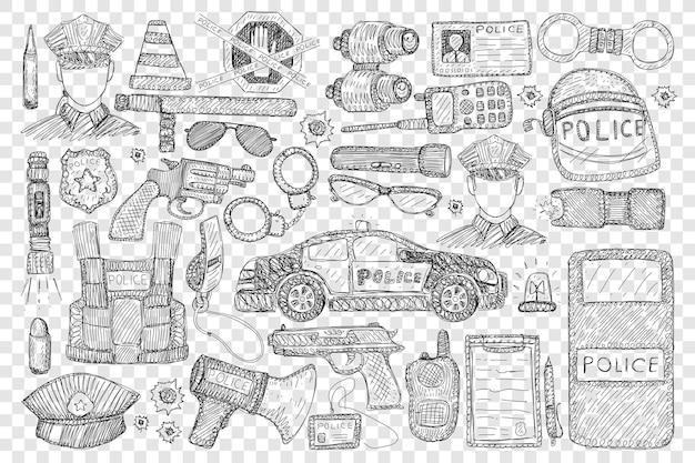 Politiehulpmiddelen en uniforme doodle set illustratie