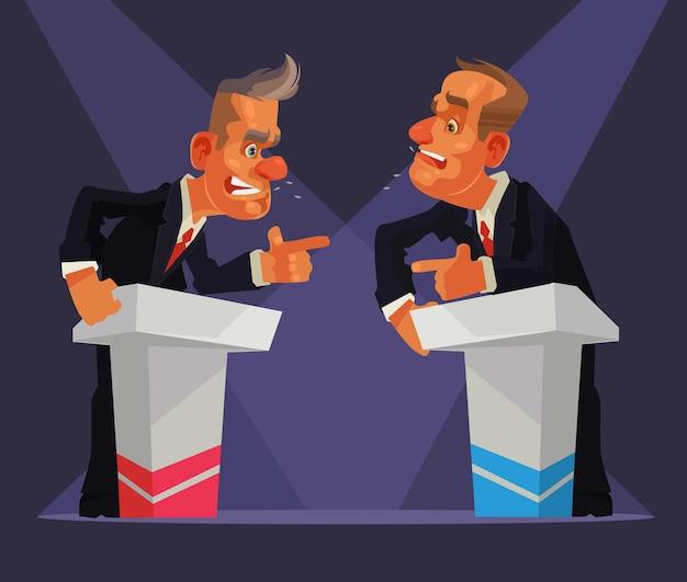 Politiek debat. twee sprekers karakter. platte cartoon afbeelding