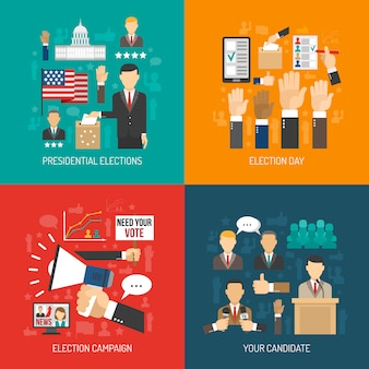 Politiek en verkiezing flat concept