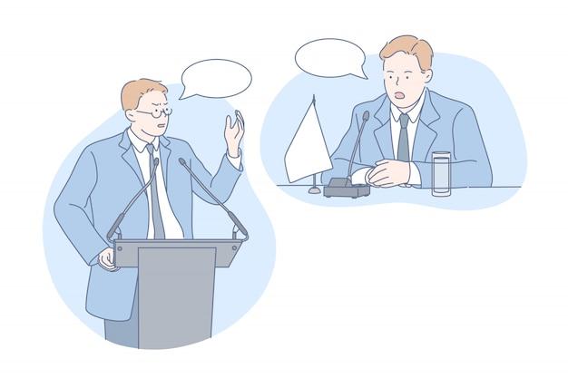Politiek, onderhandeling, debat vastgesteld concept