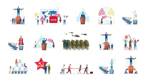 Politiek systeem metafoor platte set. verschillende vormen van regeringen. staatshoofd. radicale ideologieën. verkiezingsproces. monarchie en republiek. politici stripfiguren