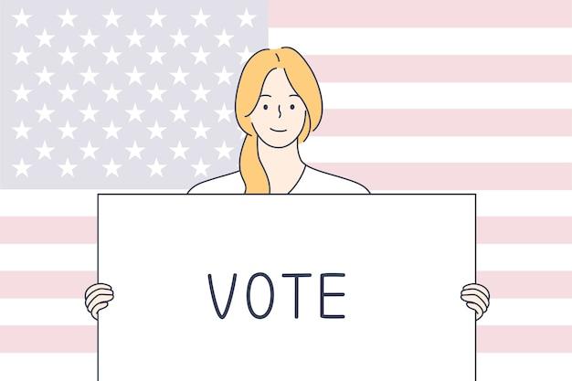 Politiek, verkiezing, vs, stemconcept.