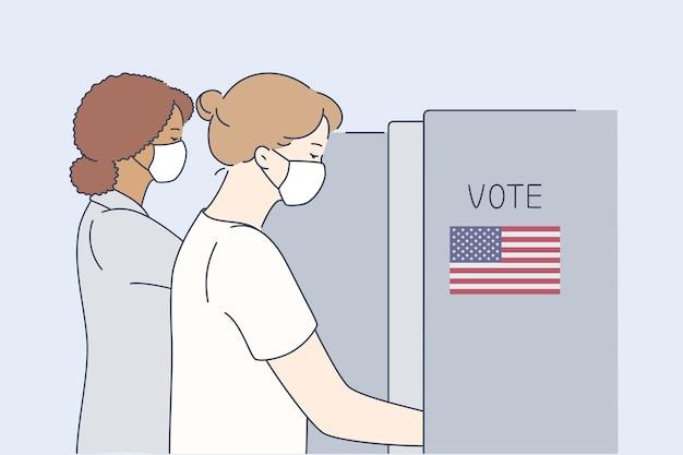 Politiek, verkiezing, vs, stemmen, coronavirusconcept.