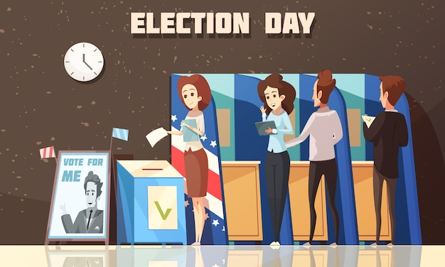 Politiek verkiezingen stemmen cartoon