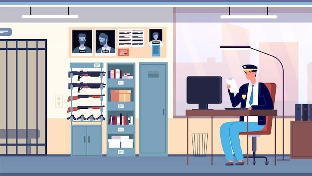 Politiekantoor. wetshandhavingskamer stadsafdeling. cop in uniform bezig met professionele onderzoeker in kabinet interieur vector concept. illustratie politiebureau, politie van het stadsbureau