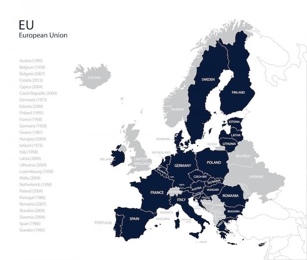 Politieke kaart van de eu (europese unie) zonder verenigd koninkrijk.