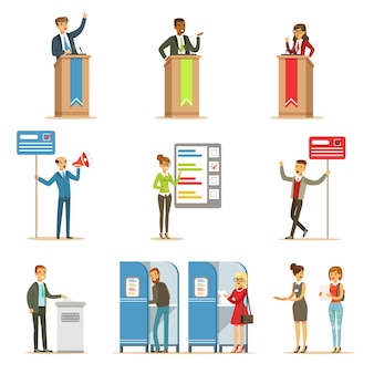 Politieke kandidaten en stemproces set van democratische verkiezingen thema illustraties