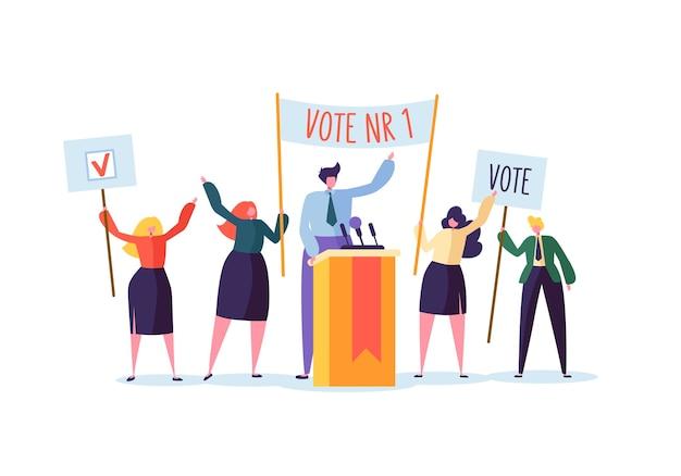 Politieke ontmoeting met kandidaat in toespraak. verkiezingscampagne stemmen met personages met stemmingsbanners. man en vrouw kiezers.