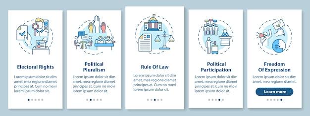 Politieke rechten onboarding mobiele app-paginascherm met concepten. rechtsstaat. vrijheid van meningsuiting. doorloopstappen grafische instructies. ui-sjabloon met rgb-kleurenillustraties