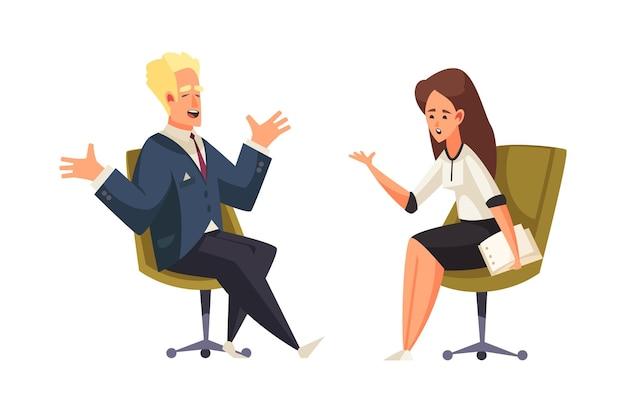 Politieke talkshow met gastheer en gast zittend in stoelen met een interviewillustratie