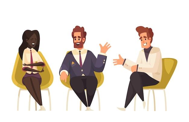 Politieke talkshow met karakters van drie talkshowgasten in stoelenillustratie