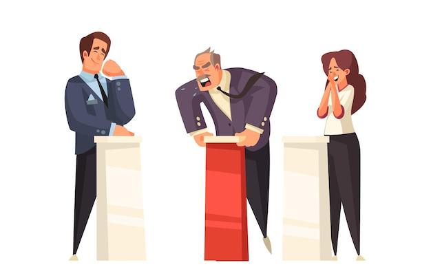 Politieke talkshow met krabbelkarakters van drie debatterende politici bij tribunesillustratie