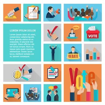Politieke verkiezingen en stemming vlakke decoratieve pictogrammen instellen