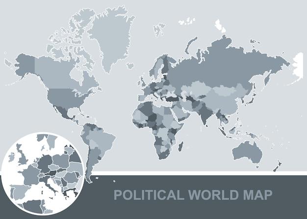 Politieke wereldkaart. met alle landen van hoge kwaliteit.