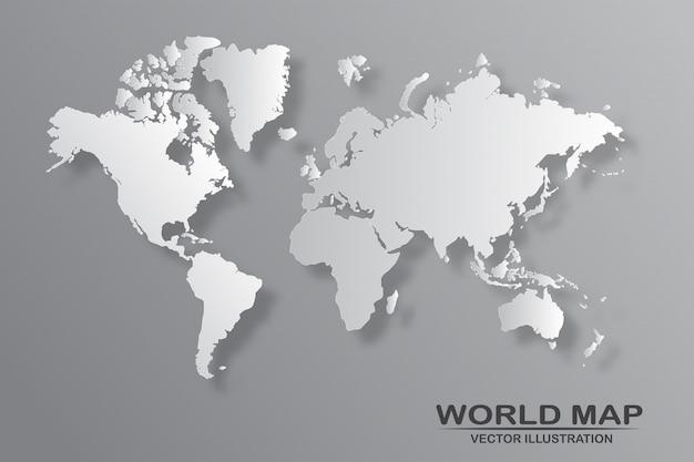 Politieke wereldkaart met geïsoleerde schaduw