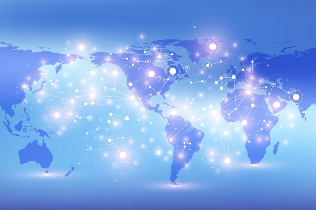 Politieke wereldkaart met wereldwijd technologienetwerkconcept. digitale datavisualisatie. lijnen plexus. big data-communicatie.