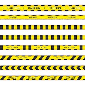 Politielijnen en kruis geen linten. let op en gevaar tapes in gele en zwarte kleur. waarschuwingsborden collectie geïsoleerd op een witte achtergrond. vector illustratie.