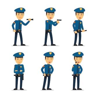 Politieman karakter in verschillende poses