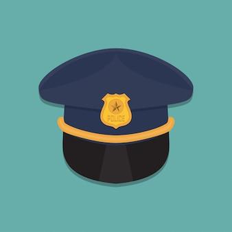 Politiemuts pictogram in een platte ontwerp