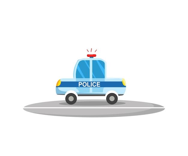 Politiewagen, zijaanzicht. politie vervoer. vectorillustratie in cartoon-stijl.