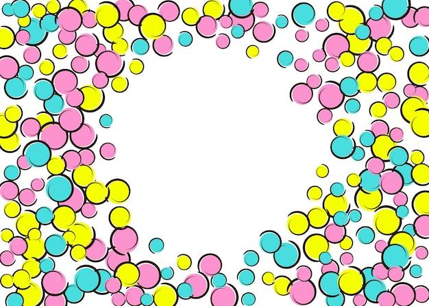 Polka dot frame met komische popart confetti. grote gekleurde vlekken, spiralen en cirkels op wit. vector illustratie. stijlvolle kinderen splatter voor verjaardagsfeestje. regenboog polka dot frame.