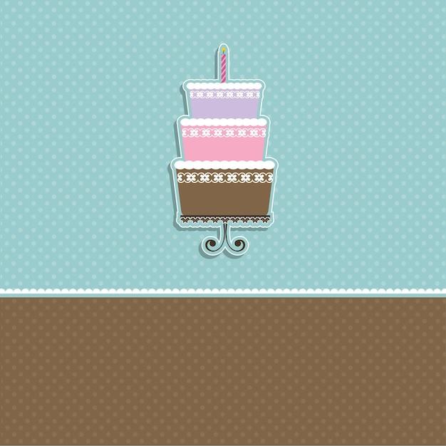 Polka dot kaart met afbeelding van een schattige taart