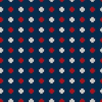Polka dot naadloos gebreide patroon. wintervakantie breien trui design