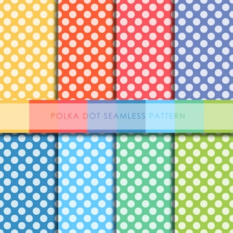 Polka dot naadloze patroon vector set.