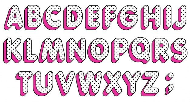 Polka dots alfabet letters set. popart lettertype