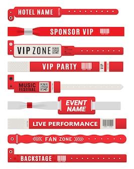 Polsbandarmbanden, mockups voor toegangskaarten voor evenementen