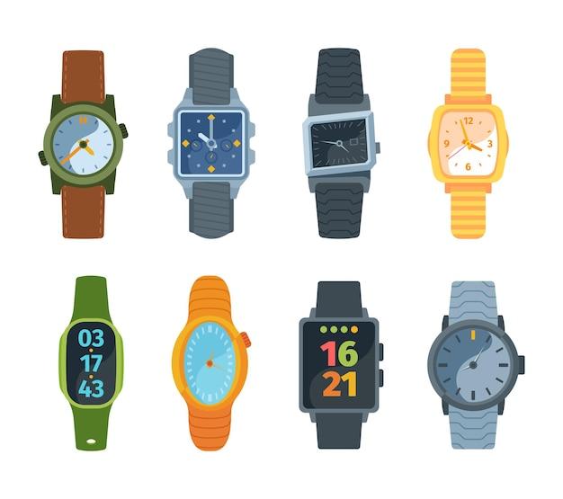 Polshorloge set. klassieke en moderne horloges modieus retro-ontwerp mechanisch bewezen jarenlang elektronische batterijen nieuwe generatie slimme technologieën met minicomputer.