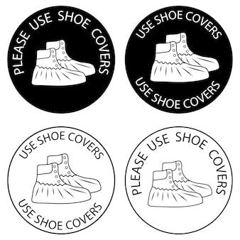 Polyethyleen bekleding voor schoenen. gebruik alstublieft schoenovertrekken. beschermende medische hoezen. overzicht en glyph pictogrammen. virus preventie pictogrammen. vector illustratie geïsoleerd