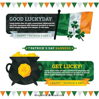 Polygonal st. patrick's day banners