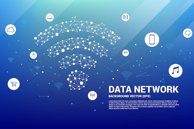 Polygoon mobiel gegevenspictogram. concept voor gegevensoverdracht van mobiel en wi-fi gegevensnetwerk