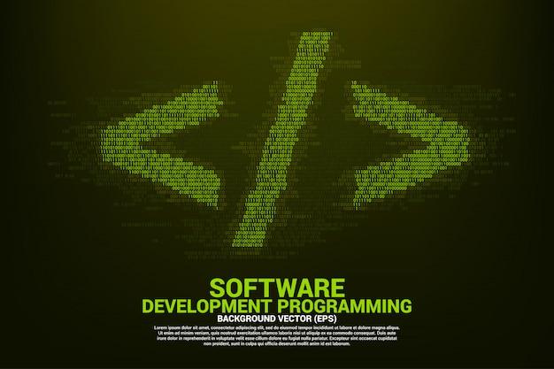 Polygoon software ontwikkeling programmeer tag met een en nul cijferige matrixstijl.