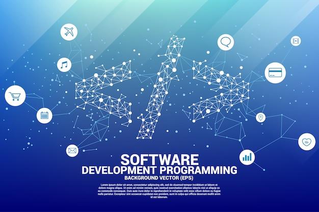 Polygoon softwareprogrammatag met stipverbindingslijn.