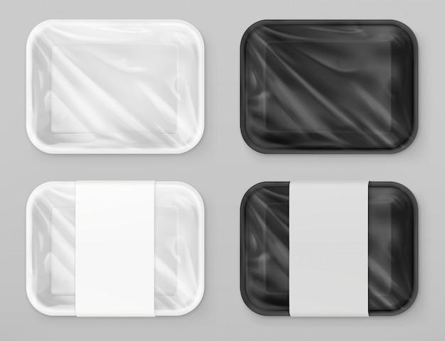 Polystyreen voedselverpakkingen, wit en zwart. 3d-vector realistische mockup