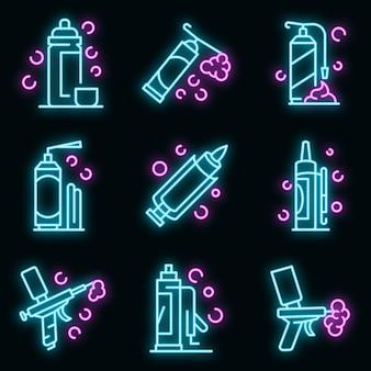 Polyurethaanschuim pictogrammen instellen. overzicht set van polyurethaanschuim vector iconen neon kleur op zwart