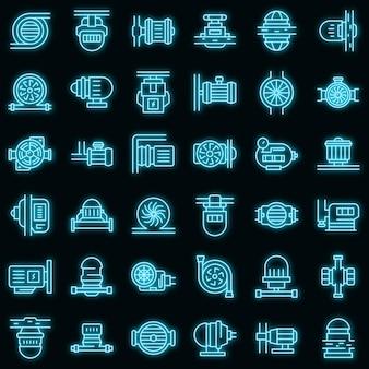 Pomp pictogrammen instellen. overzicht set pomp vector iconen neon kleur op zwart