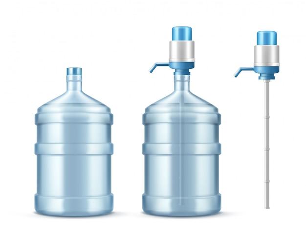 Pompkoeler en grote fles voor schoon water