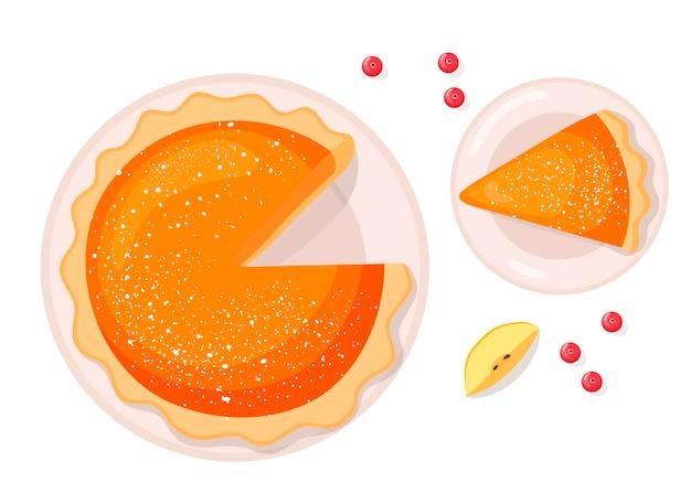 Pompoen appeltaart kleurrijke illustratie voor thanksgiving day cartoon stijl