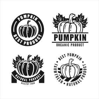 Pompoen biologisch productontwerp logo-badge