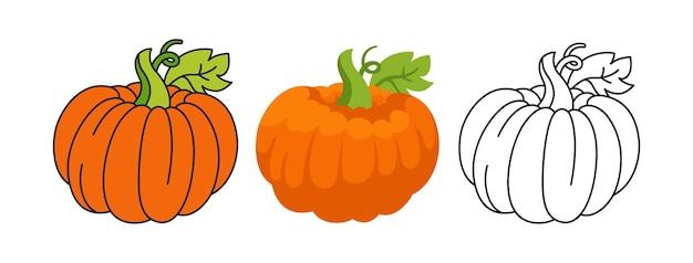 Pompoen cartoon set lijn pictogram zwart doodle stijl halloween of thanksgiving day festival symbool