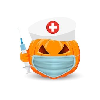 Pompoen dokter. pompoen met medisch masker en spuit op witte achtergrond. het belangrijkste symbool van de vakantie happy halloween.