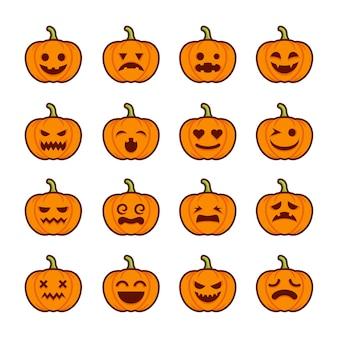 Pompoen emoticon set